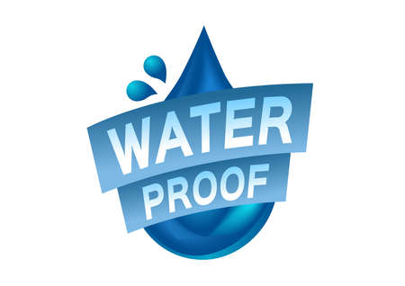 Water resistant and water proof icon. blue Water version Ilustrace