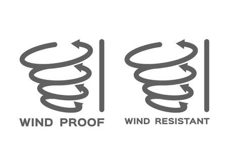 wind proof and resistant icon vector on white background