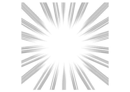 Comic and manga books speed lines background. explosion background. Black and white vector illustration on white . Ilustrace