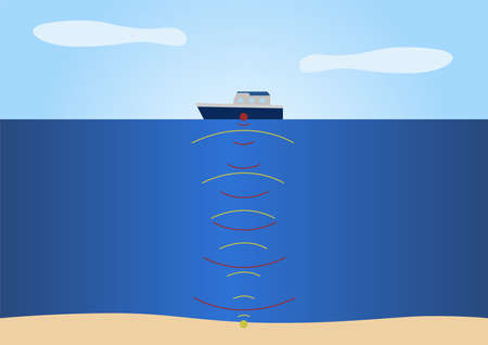 sonar infographic vector . boat and ground on white Ilustrace