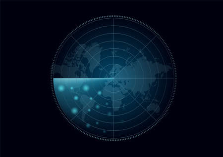 radar and sonar target vector . military ship mornitor on black background