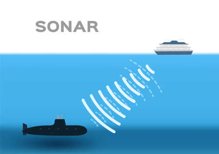 sonar infographic vector . boat and submarine on white