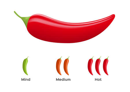 hot and spicy level of chilli peper vector on white background Ilustrace