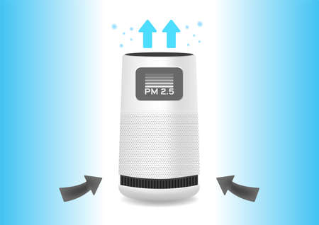 Air purifier and dust filter vector on white background