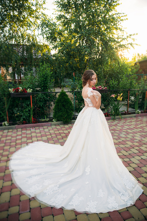 Young Girl In Wedding Dress In Park Posing For Photographer Stock
