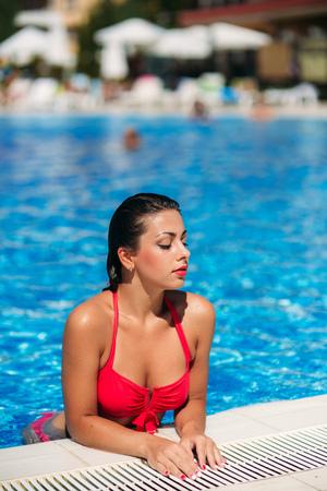 Sexy girl in swimming pool