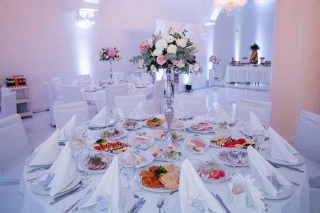 Wedding tables in restaurant. deciration. summer day Stock Photo