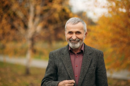 Handsome old man with well-groomed gray-haired beard Stock fotó
