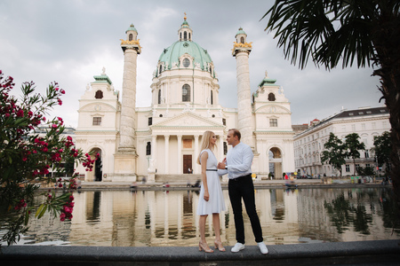 Happy couple walking in the Austria, Viena. They love each other and spent time together