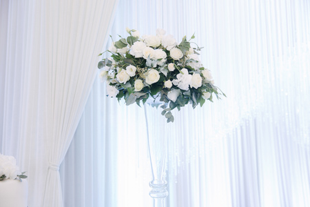 Wedding bouquet in restaurant on the table