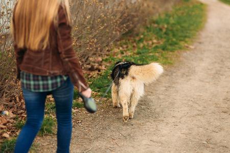 Vista posteriore della donna dai capelli biondi a piedi con il cane