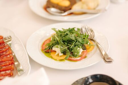 Fresh salad in restaurant on the table. Banquet concapt. Different salads with tomato, arugula, chicken, avocado, parmesan, shrimp