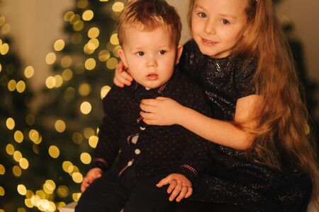 Brother and sister sitting in front of beautiful christmas trees Stock Photo