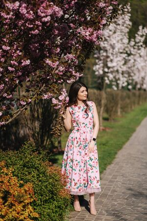 Attractive young girl walking in the park near the pink tree. Sakura tree, spring