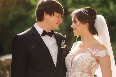 Portrait of happy groom and bride. Beautiful wedding couple