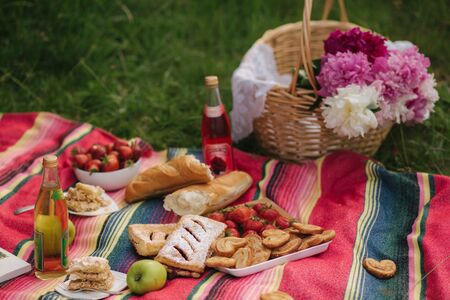 Photo of mini picnic outdoors. Non alcoholic picnic. Fresh strawbery, lemomade and gluten free bread. Red blanket