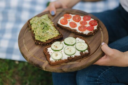 Woman vegan picnic outdoors. Female take vegan sandwich with fresh vegetables. Space for text. Vegan picnic concept. Closeup