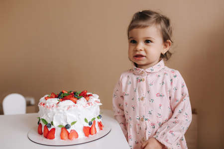 Cute little girl one and a hulf year old stand by delicious birthday cake. Eighteen month old girl verry happy and laughs. Vegetarian food. Lactose free and gluten free.