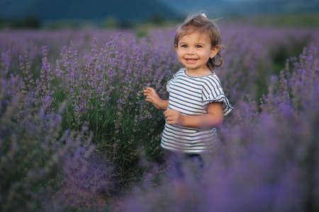 Portrait of adorable little girl walking in lavender field after sunset. Blue or purple lavender. Happy kid smile Foto de archivo