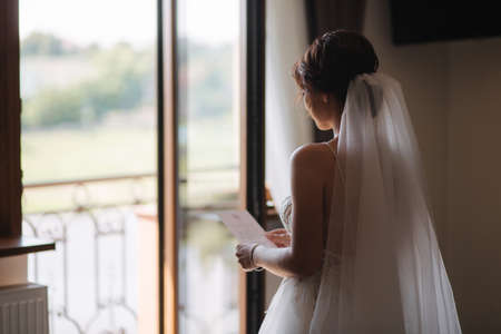 Charming bride read an oath and cries