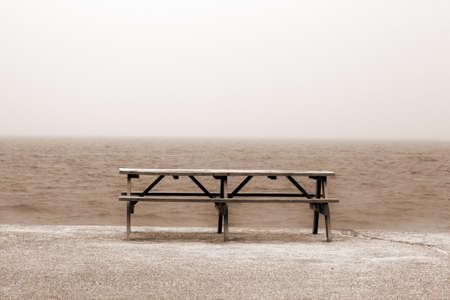 massachussets: Cape Cod Massachussets Wooden Table on the Beach