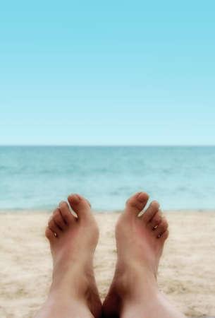 feet in sand: Sandy Woman Feet on a Tropical Beach