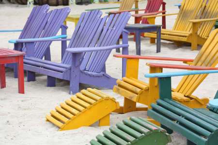 adirondack chair: Colorful Adirondack Wooden Chairs on the Beach