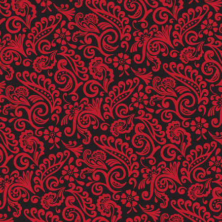 victorian wallpaper: Red and Black Victorian Floral Wallpaper