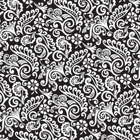 Black and White Victorian Floral Wallpaper