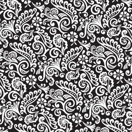 Zwart-wit Victoriaans Bloemen Behang