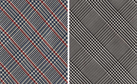 Closeup on Two Classic Plaids Cotton Textile Swatches