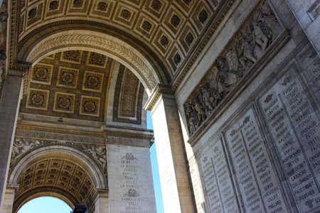 Detail of the bottom part of Arc de Triomphe in Paris, France