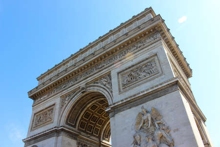 Detail of the side of Arc de Triomphe in Paris, France