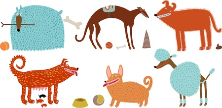 orange-blue vector dogs set