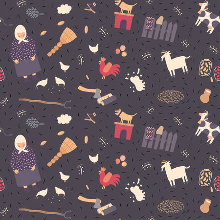 babushka: Seamless village pattern