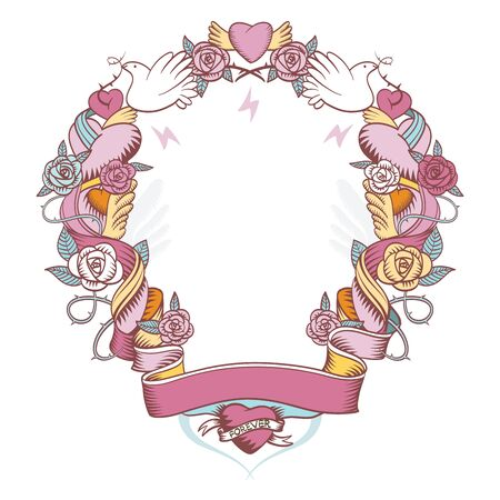 weaved: Pink vignette weaved with roses and hearts, perfect for greeting cards and wishes Illustration