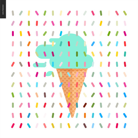 Mint Ice cream cone and a pattern - cartoon flat illustrated cartoon ice cream cone and mint scoop with mint leaves, with twisted geometric colorful pattern of sprinkles above