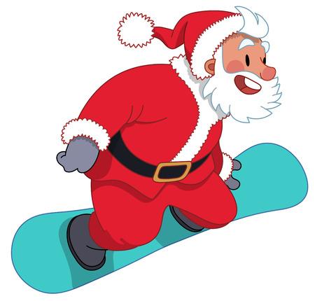Santa Claus flying on the blue snowboard, flat cartoon illustration Illustration