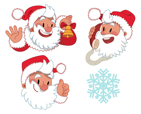 santa claus face: Three expressions of Santa Claus character - the set of flat cartoon illustration of Santa Claus face and a snowflake