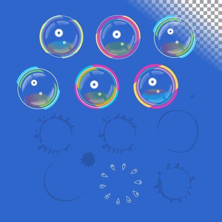 eliminate: Soap bubbles with transparency, vector design element set and traces of burst bubbles