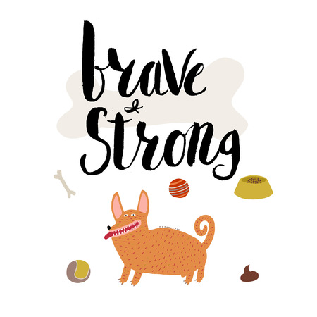 corgi: The vector lettering Brave and strong with red haired corgi male dog. Ideal for interior decoration, posters, cards. Drawn elements are fit to make any type of patterns or design.