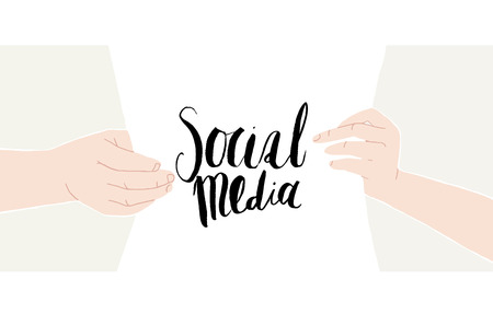 content writing: Male and female hands holding a sheet of paper with hand-drawn writing Social media. Vector illustration. Ideal for web backgrounds and content placement.