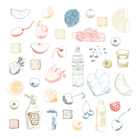 stuff: Hand drawn vector food and kitchen stuff set, outlined elements are ready to be recolored.
