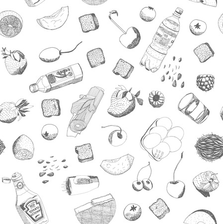 leek: Hand drawn vector food and kitchen stuff seamless pattern, outlined elements are ready to be recolored. Illustration