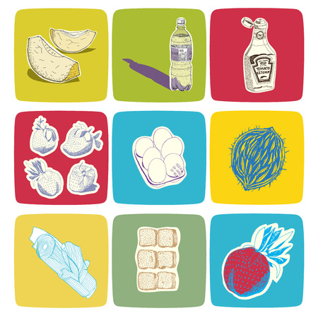 recolor: Hand drawn vector food icons, easy to recolor