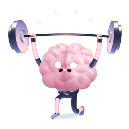 Train your brain series - the vector illustration of training brain activity, weightlifting. Part of a Brain collection.
