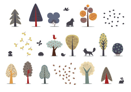 The vector illustration of flat forest elements - various trees, wild animals and seeds.