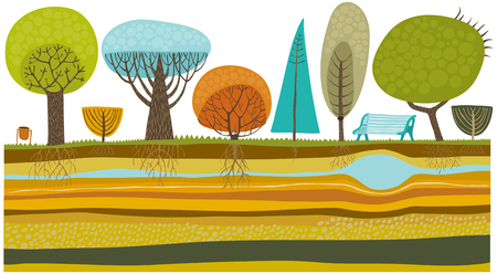 The vector illustration of park trees set. Ilustração