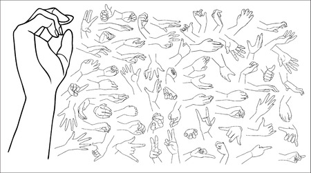 sign language: The vector illustrated set of outlined hand drawn hands with various gestures, big set.