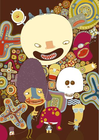 psychedelia: The vector poster with cartoon characters on the brown background. Illustration